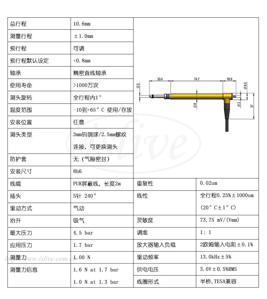 851ST524L位移传感器(±1mm)结构图及技术参数