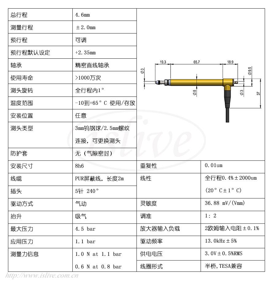 851ST301L位移传感器(±2mm)结构图及技术参数
