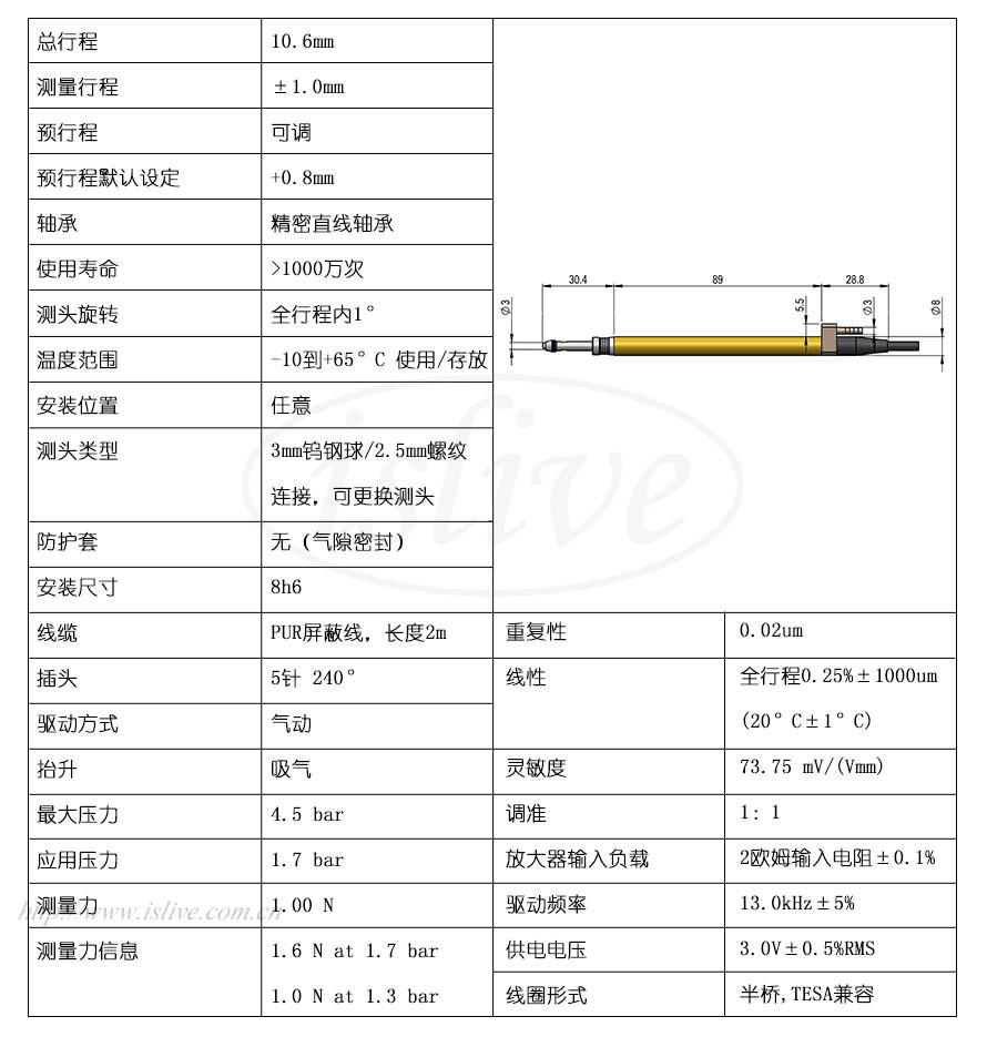 851ST523L位移传感器(±1mm)结构图及技术参数